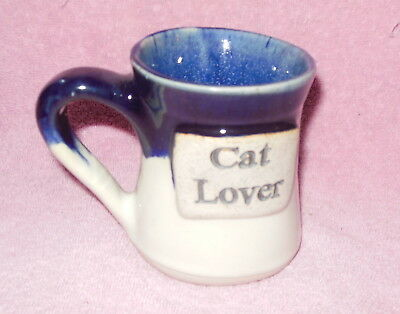 Large Blue Drip  Stoneware 'cat Lover' Pottery Coffee Cup Or Mug New
