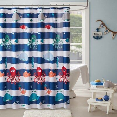 Beach Life Shower Curtain : Ocean House Whale Starfish Octopus Blue White Stripe