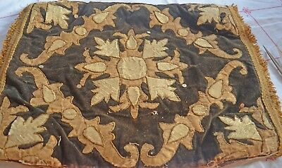 Rare Antique Metallic Appliqued Velvet Pillow Covers Tt412