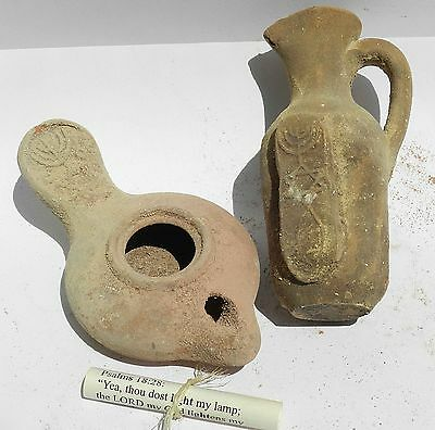 Set Ancient Jug Holy Land Water Jar Herodian Clay Pottery & Oil Lamp Menorah