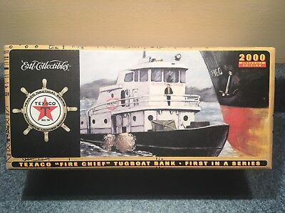 New Never Opened 2000 Texaco Fire Chief Tugboat Bank Millennium Ed First In A Se