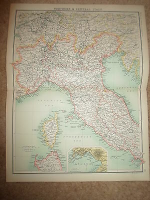 c1900 Map ~ NORTHERN & CENTRAL ITALY - J Bartholomew XXth Century Citizens Atlas