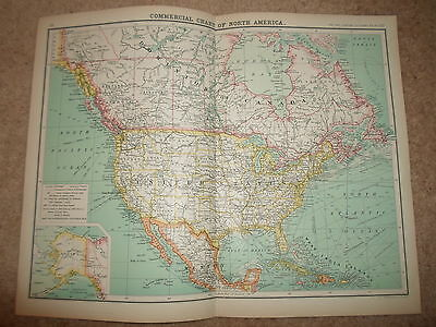 c1900 Map COMMERCIAL CHART NORTH AMERICA J Bartholomew XXth Cent Citizens Atlas