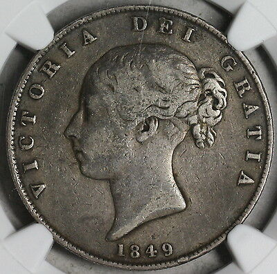 1849 NGC F 15 Victoria Silver 1/2 Crown GREAT BRITAIN Coin (16110303C)