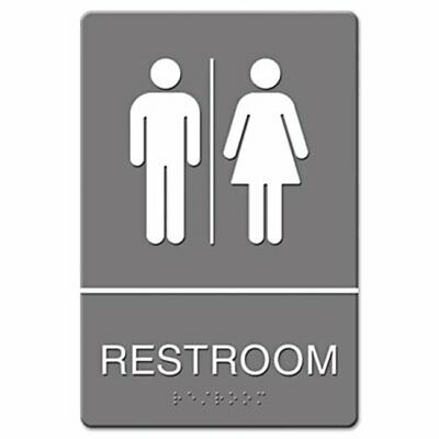 Us Stamp 4812 ADA Sign Restroom Symbol Tactile Graphic Molded Plastic 6 x 9 Gray
