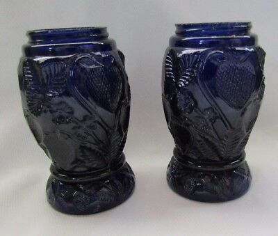 Mosser Glass Large Cobalt Blue Embossed Strawberry`s Salt And Pepper Shakers
