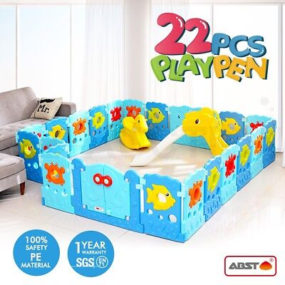 22 Sided Panel Baby Playpen Interactive Kids Toddler Baby Room Safety Gate ABST
