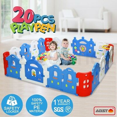 20 Sided Baby Playpen Castle-shaped Safety Gate Baby Room With Basketball Set