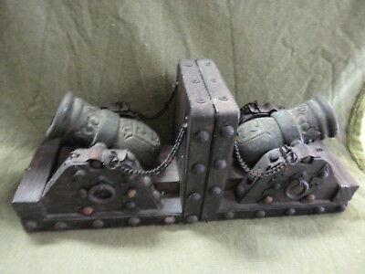 #Nn.   Cannon Bookends, Bronze Cannons On Wood