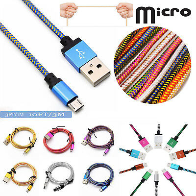 10FT Micro USB Fast Charger Data Sync Cable Braided Cord for Samsung Android DS