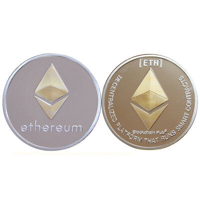 Silver Gold Ethereum Crypto Collectible Coin Gold Plated Commemorative Christmas