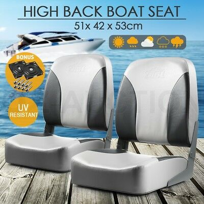 Set of 2 Fishing Boat Seat Captains Chair Tall Back with Swivel All Weather Grey