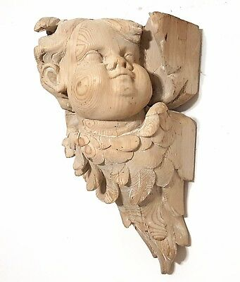Shabby Angel Wall Shelf Antique French Scour Hand Carved Wood Sculpture Carving