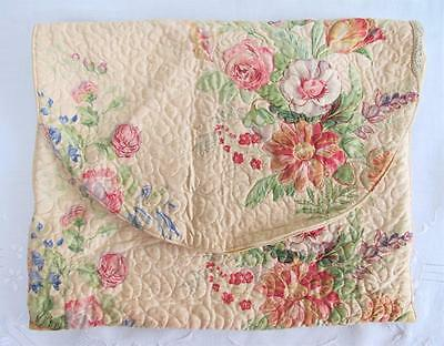 VINTAGE 1930's QUILTED FLORAL PRINTED FABRIC PAJAMA  NIGTHGOWN CASE