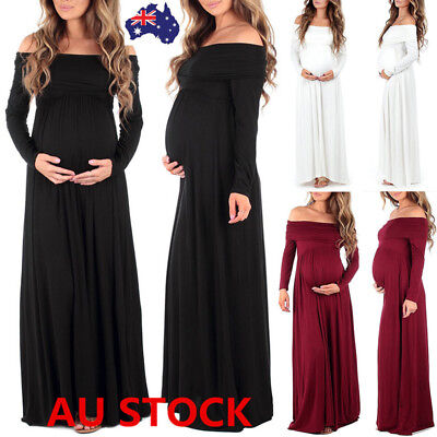 Pregnant Women Off Shoulder Long Maxi Dress Gown Maternity Photography Props