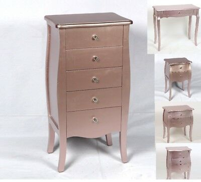 Rose Gold Table Tallboy Drawers Bedside Console Shabby Chic French Antique Look