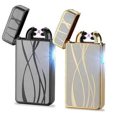 Electric USB Rechargeable Dual Arc Flameless Windproof Plasma Lighter Xmas Gift