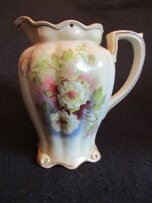 """ART NOUVEAU GIBSONS FLORAL BLUSH 6.75"""" MILTON WATER JUG + HINGED COVER c.1905 EX"""