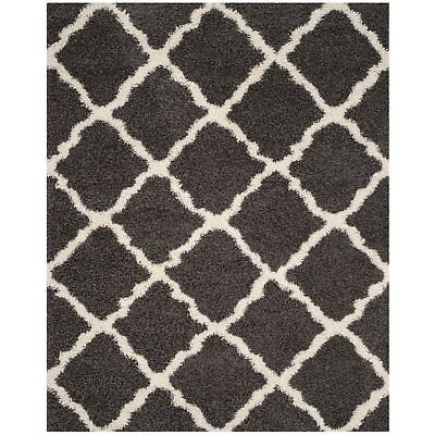 Safavieh Dallas Shag Collection 8 x 10 Foot Indoor Area Rug, Dark Grey/Ivory