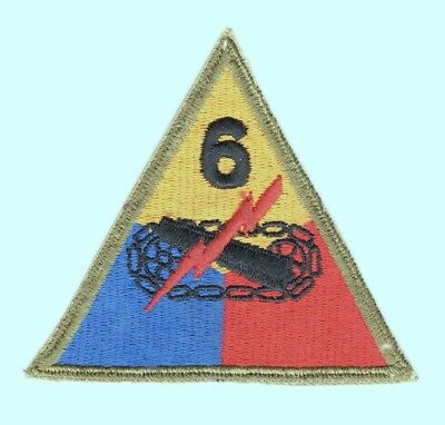 Army Patch: 6th Armored Division, cut edge, OD border