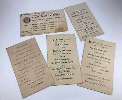 Lot Of 6 Antique/vintage 1920'S Era Postcard Invitations To Dances Rockport In