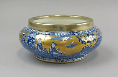 Rare James Kent Chinoiserie Gold Gilt Blue&White Bowl Olde Foley Chinese