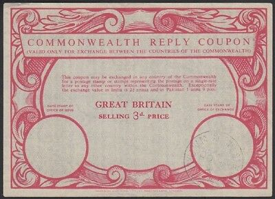 GREAT BRITAIN, 1954. Commonwealth Reply Coupon 3d, Validated