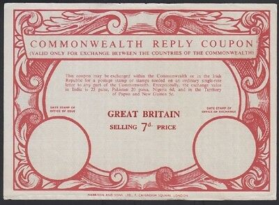 GREAT BRITAIN, 1959. Commonwealth Reply Coupon 7d, Mint