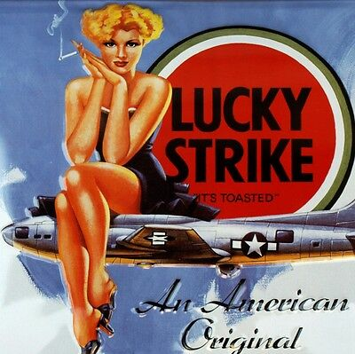 LUCKY STRIKE Bomber Lady PIN UP Großes Blechschild MAKELLOS Erotik Sexy NOSE ART
