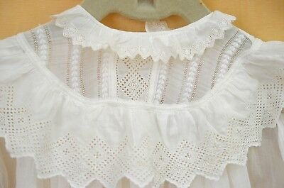 Exquisite Antique Christening Gown With Openwork And Pintucks Tt392