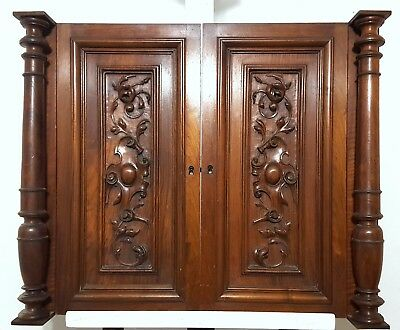 Cabinet Panel Door Column Matched Pair Antique French Walnut Gothic Carved Wood