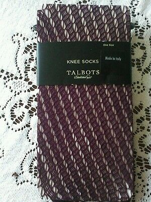 Talbots NWT $27 3 Pair of Plum Crochet Knee Highs One Size Fits All ITALY