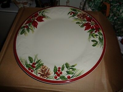 Longaberger  Holiday Nature Garland Dinner Plate New In Box Set Of 4