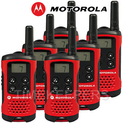 4Km Motorola TLKR T40 Walkie Talkie 2 Two Way PMR 446 Compact Radio Six Set