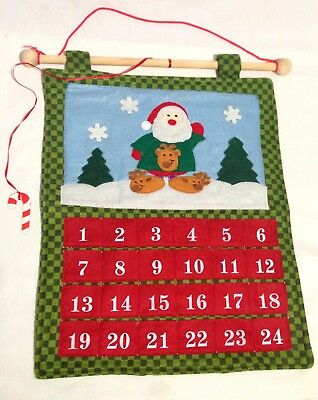 advent calendar christmas countdown felt santa claus hanging decor 24 days 13x16