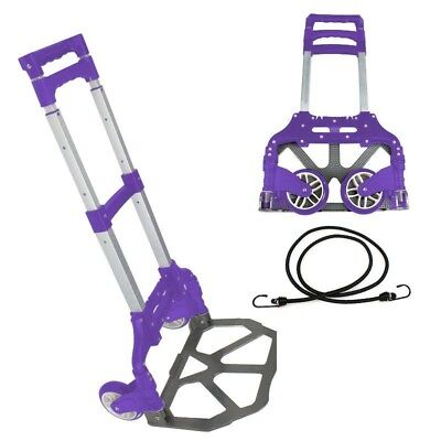 170lbs Folding Aluminium Cart Luggage Trolley Hand Truck with Bungee Cord Purple