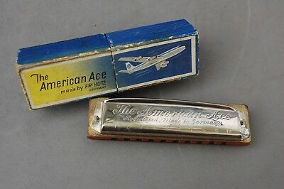 American Ace Harmonica Fr. Holtz Germany Key G Vintage Nice Box Airplane Music
