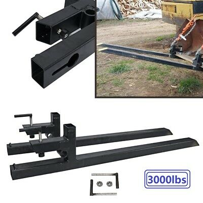 Clamp on Pallet Forks 3000 lbs Loader Bucket Skidsteer Tractor Chain Heavy Duty
