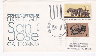 First Flight Am-29 San Jose Ca - Seattle Wa August 29 1970 Continental Airlines
