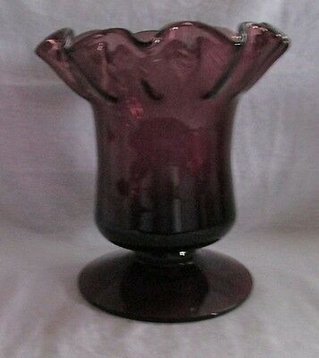 Italian Art Glass Hand Blown Large Amethyst Purple Controlled Bubbles Vase