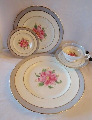 COALPORT  5 Piece Place Setting TOMORROW large pink flower gold rims