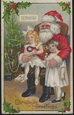 Vintage Christmas Greetings Postcard Santa Claus with Two Girls Toys and Tree