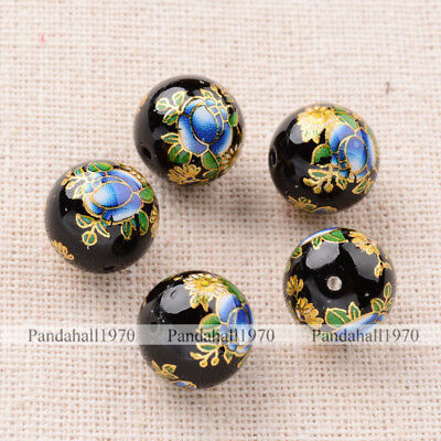 5 Pcs Flower Painted Black Glass Round Beads 12mm Crafts  For Jewelry Making