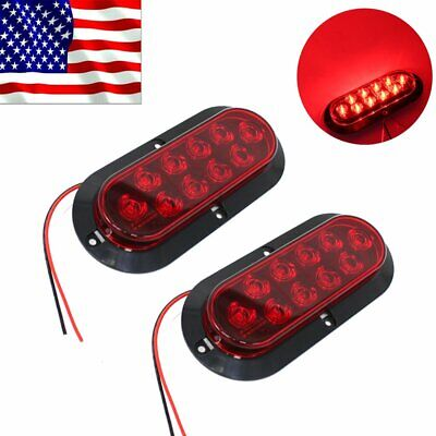 "2X 10 LED 6"" Red Oval Surface Mount Parking Brake Tail Light Truck Trailer US"