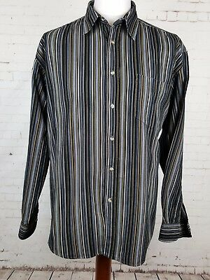 Vtg 90s dark Stripe Corduroy Indie Urban Long Sleeve Cord Shirt britpop -XL EP64