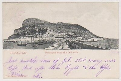 Gibraltar postcard - Panorama from the Old mole - P/U