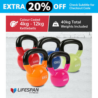 NEW Lifespan 4 to 12kg (40kg) Kettle Bell Set Vinyl Coated Cast Iron Kettlebells