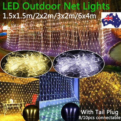 Net Mesh LED String Fairy Curtain Light Xmas Party Wedding Outdoor Decor AU Plug