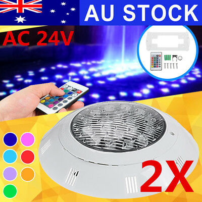 AU 2X 7Color 18W 24V LED RGB Underwater Swimming Pool Light w/Remote Control