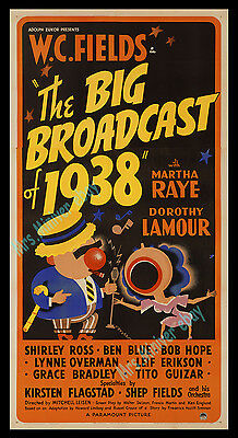 1-of-a-Kind ☆ THE BIG BROADCAST OF 1938 ☆ W.C. FIELDS Movie Poster ☆1st BOB HOPE